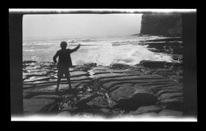 Primary view of object titled '[A Williams boy standing near Point Fermin]'.