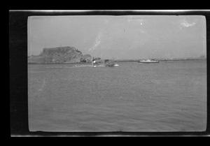 Primary view of object titled '[Photo of ships on a body of water]'.