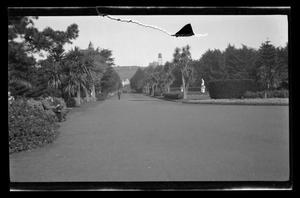 Primary view of object titled '[People walking and sitting in a park]'.