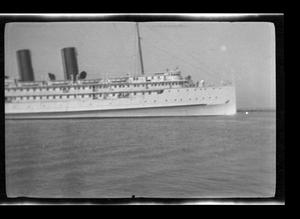 Primary view of object titled '[Photo of a large ship in the water]'.
