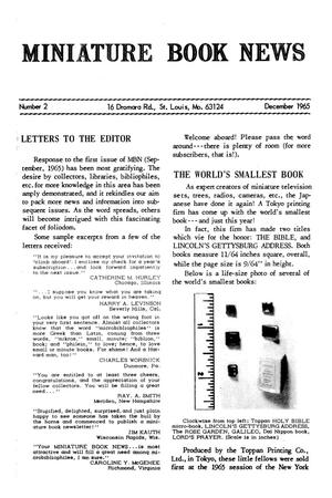 Miniature Book News #  2: 1965 December