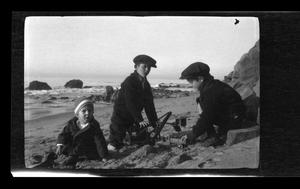 Primary view of object titled '[The Williams boys on a beach]'.