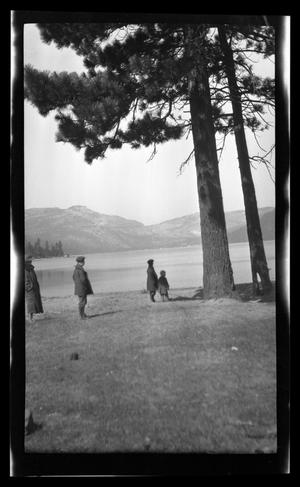 Primary view of object titled '[Irene Williams standing with her sons by a tree]'.