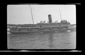 Primary view of object titled '[Photo of a ship on a body of water]'.