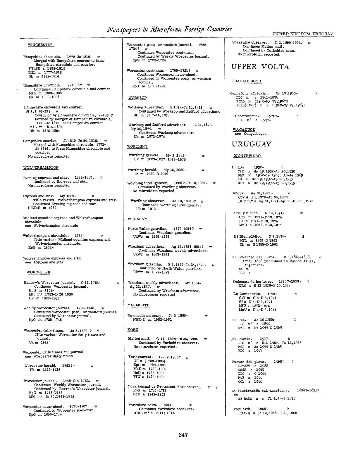 Library Of Congress Catalogs Newspapers In Microform Foreign