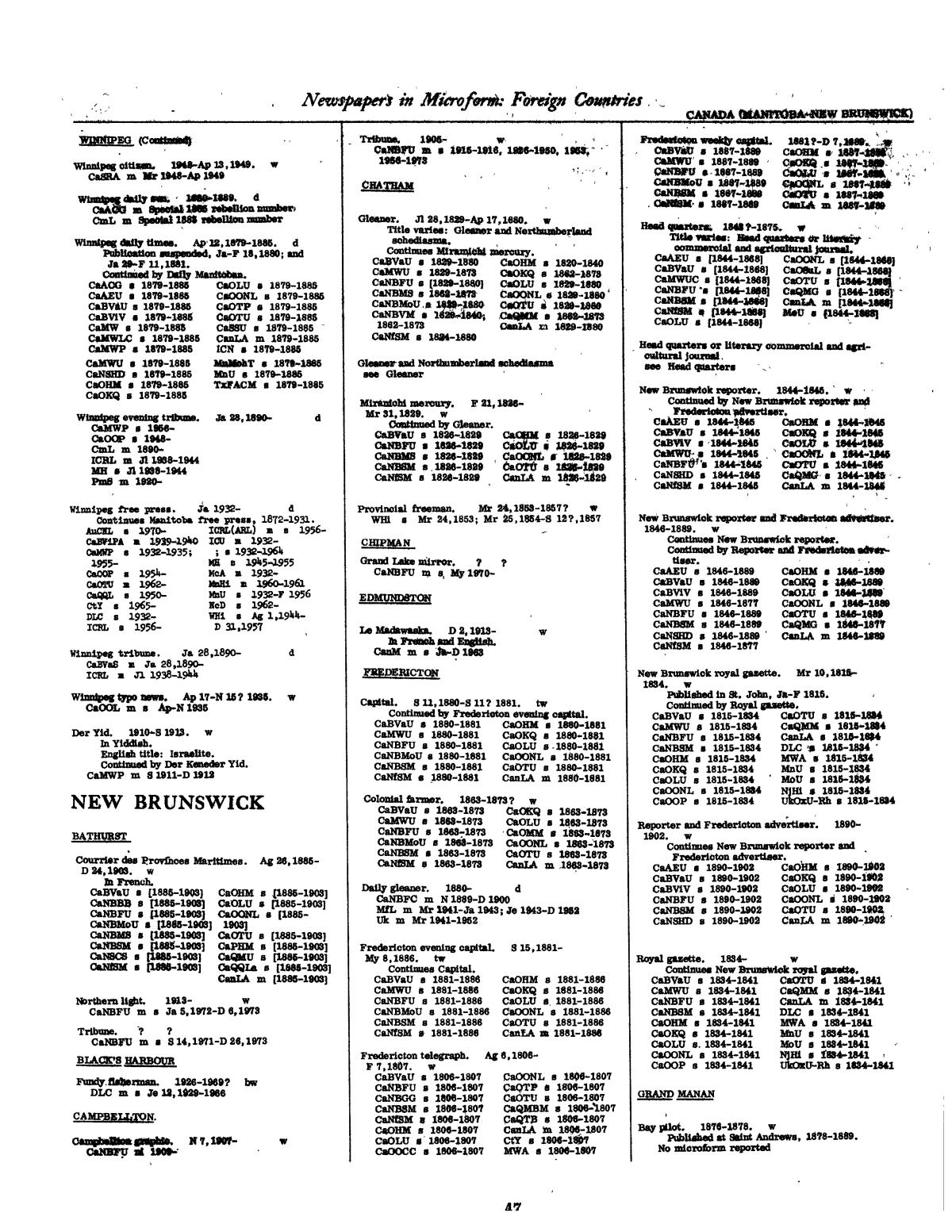 Library of Congress Catalogs: Newspapers in Microform, Foreign Countries, 1948-1983                                                                                                      47