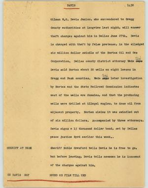 Primary view of object titled '[News Script: Davis]'.