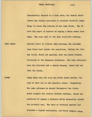 Primary view of [News Script: Snead convicted]