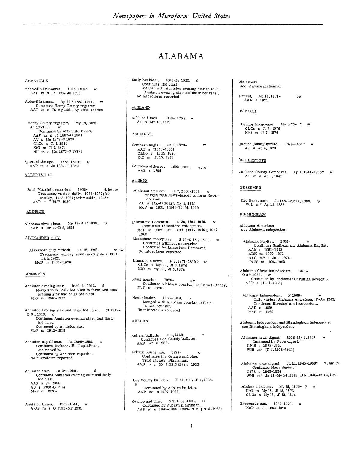 Library of Congress Catalogs: Newspapers in Microform, United States, 1948-1983, Volume 1 A-O                                                                                                      1