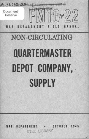 Primary view of object titled 'Quartermaster depot company, supply.'.