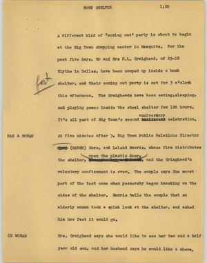 Primary view of object titled '[News Script: Bomb shelter]'.
