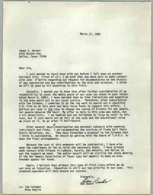 Primary view of object titled '[Letter from Don Baker to James C. Barber on March, 1985]'.