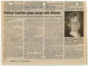 Primary view of object titled '[Newspaper Clipping: Political Coalition plans merger with Alliance]'.