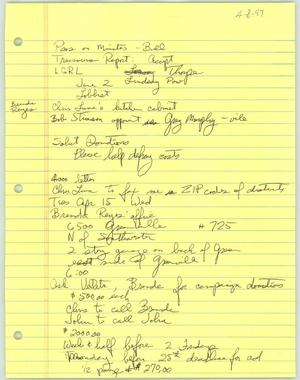 Primary view of object titled '[Handwritten notes and to-do lists for the Lesbian Gay Political Coalition]'.