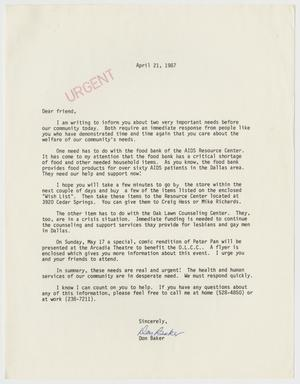 Primary view of object titled '[Letter from Don Baker pertaining to the AIDS Resource Center and the Oak Lawn Counseling Center]'.