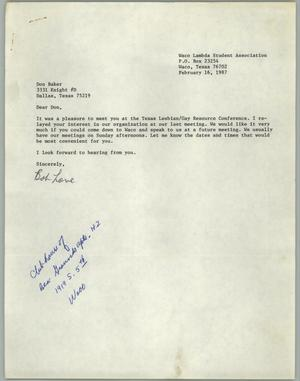 Primary view of object titled '[Letter from Bob Love of the Waco Lambda Student Association to Don Baker regarding guest speaker]'.