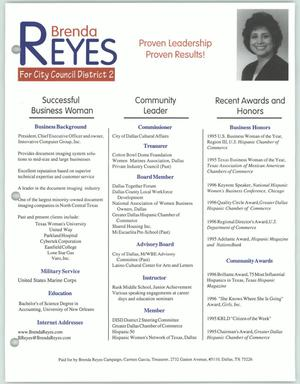 Primary view of object titled '[Campaign flyer for Brenda Reyes]'.