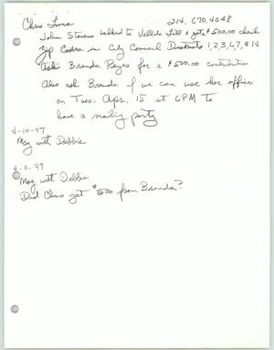Primary view of object titled '[Handwritten notes about Chris Luna and city council issues and faxes to and from Al Daniels and Chris Luna]'.