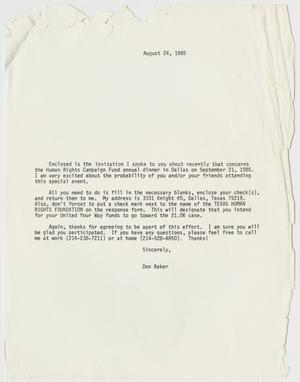 Primary view of object titled '[Letter from Don Banks concerning the Human Rights Campaign Fund annual dinner]'.