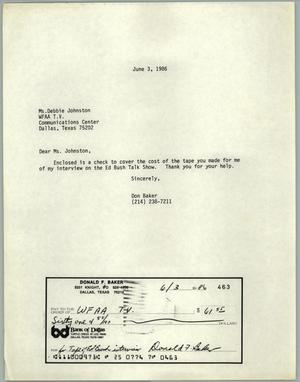 Primary view of object titled '[Letter from Don Baker to Debbie Johnson of W.F.F.A. T.V.]'.