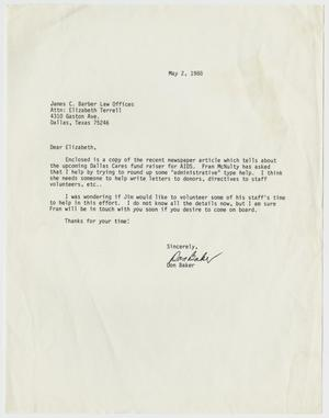Primary view of object titled '[Letter to Elizabeth Terrell from Don Baker asking for volunteers for an AIDS fundraiser]'.