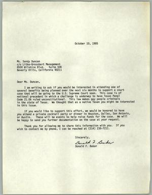 Primary view of object titled '[Letter from Donald F. Baker inviting Ms.Sandy Duncan to a fundraiser]'.