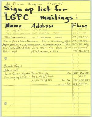 Primary view of object titled 'Sign up list for LGPC mailings'.