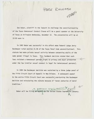Primary view of object titled '[Draft of Press Release: Don Baker challenging Section 21.06 of Texas Penal Code]'.