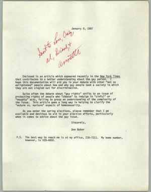 Primary view of object titled '[Letter from Don Baker concerning an article about gay rights]'.