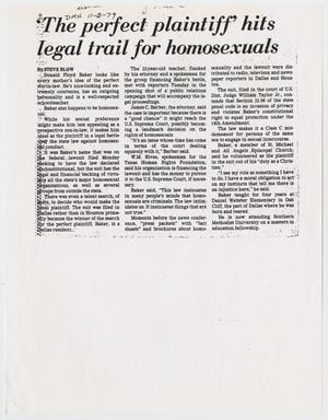 Primary view of object titled '[Copy of clippings from Dallas Morning News: 'The perfect plaintiff' hits legal trail for homosexuals and Teacher files suit against homosexual conduct law]'.