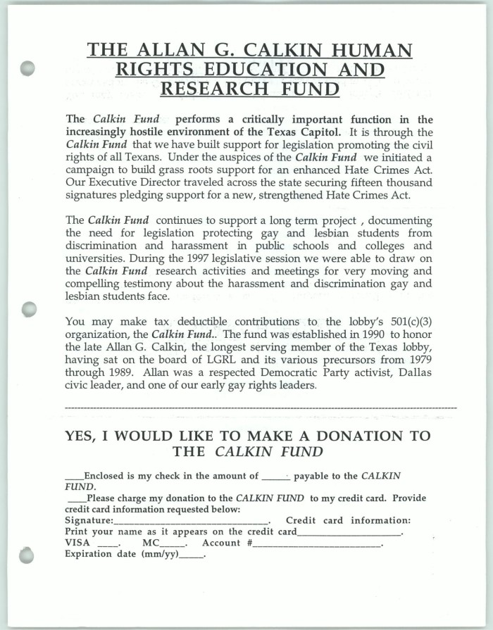information and donation slip for the allan g calkin human rights