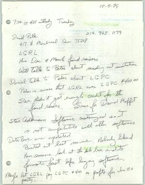 Primary view of object titled '[Handwritten notes from a meeting with Lesbian Gay Political Coalition members]'.