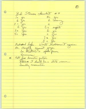 Primary view of object titled '[Handwritten notes on Bob Stimson]'.