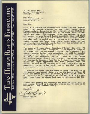 Primary view of object titled '[Letter to Don Baker from Hector Garcia of the Texas Human Rights Foundation confirming an event]'.