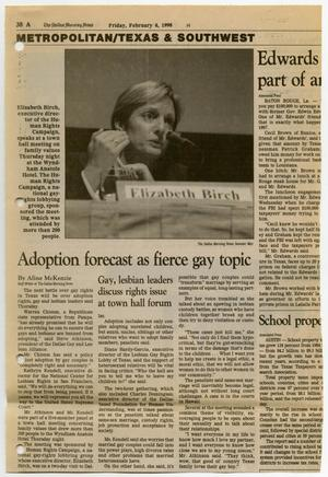 Primary view of object titled '[Newspaper Clipping: Adoption forecast as fierce gay topic]'.
