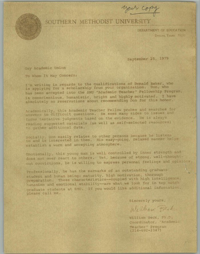 Copy Of A Letter Of Recommendation From William Beck To The Gay