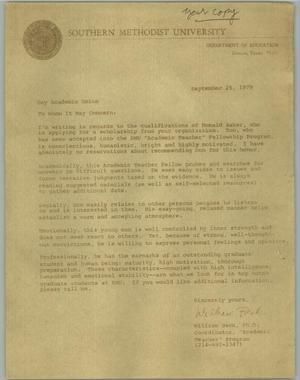 Primary view of object titled '[Copy of a letter of recommendation from William Beck to the Gay Academic Union on behalf of Don Baker]'.
