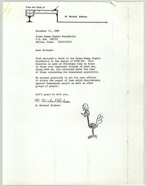 Primary view of object titled '[Letter from M. Michael Bledsoe to the Texas Human Rights Foundation]'.