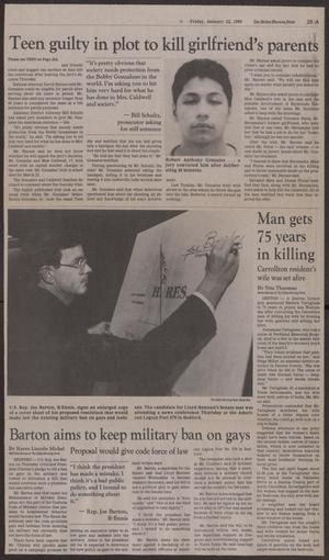 Primary view of object titled '[Newspaper Clipping: Barton aims to keep military ban on gays]'.