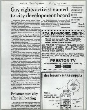 Primary view of object titled '[Copy of Dallas Morning New clipping: Gay rights activist named to city development board]'.