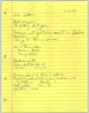 Primary view of object titled '[Handwritten notes about a meeting with John Stevens]'.