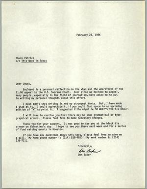 Primary view of object titled '[Letter from Don Baker to Chuck Patrick c/o This Week in Texas]'.
