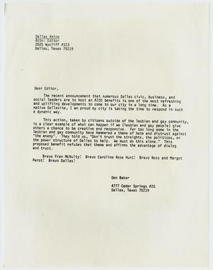 Primary view of object titled '[Letter to editor of Dallas Voice from Don Baker regarding a Dallas AIDS benefit]'.