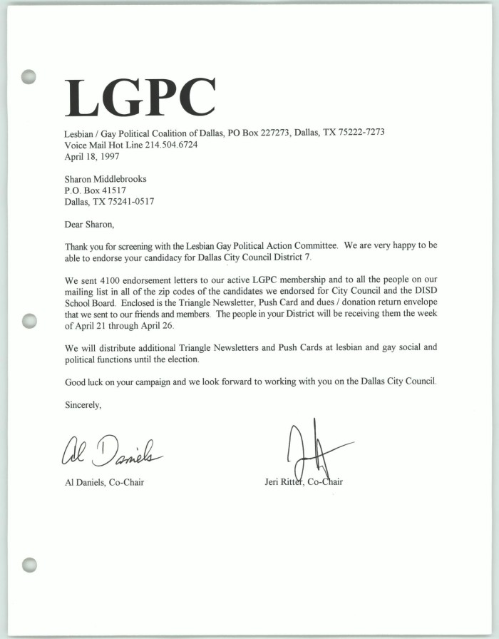 [Letter Of Endorsement From The Lesbian Gay Political Coalition To Sharon  Middlebrooks]