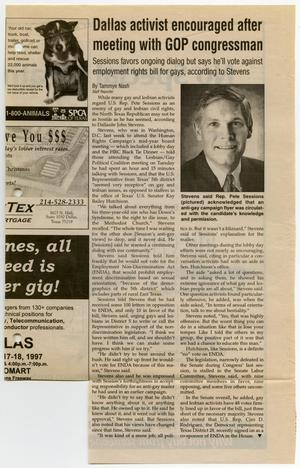 Primary view of object titled '[Newspaper Clipping: Dallas activist encouraged after meetings with GOP congressman]'.