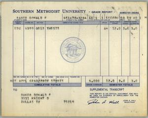 Primary view of object titled '[Don Baker Southern Methodist University grade report for 1980]'.