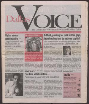 Primary view of object titled '[Issue of the Dallas Voice with articles pertaining to gay rights in the United States, with focus on Texas and the Dallas area.]'.
