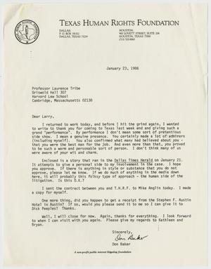 Primary view of object titled '[Letter from Don Baker to Laurence Tribe ]'.