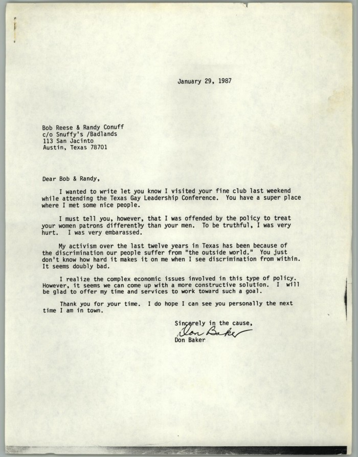 letter from don baker to bob reese and randy conuff about discrimination against female patrons