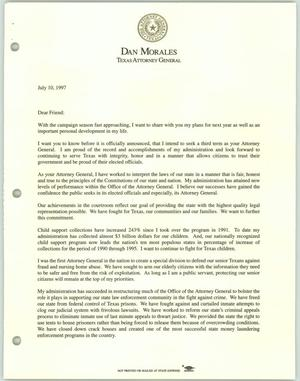 Primary view of object titled '[Letter from Texas Attorney General Dan Morales to friend concerning his campaign for re-election and impending marriage]'.